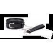 Black Diamond Bondage PVC COLLAR & LEASH W/BLING BUCKLE BLK