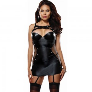 *Dreamgirl 8646X Strech Microfiber & Fishnet Studded Garter Slip W-removable Straps & Thong Black 3X/4X