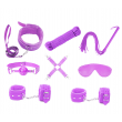 Love In Leather 9 Piece Faux-Leather Bondage Kit Purple
