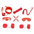 Love in Leather – 9 piece Bondage Kit (Red)