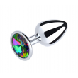 Love in Leather Medium Metal Plug - Multi coloured Gem