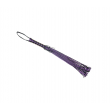 Love In Leather 74cm long leather flogger with corseted handle and plaited tails. In  black + purple
